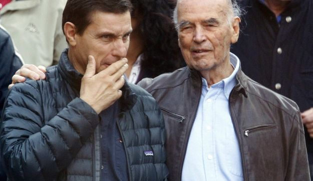 Convicted former Nazi SS captain Erich Priebke, right, leaves with his lawyer Paolo Giachini
