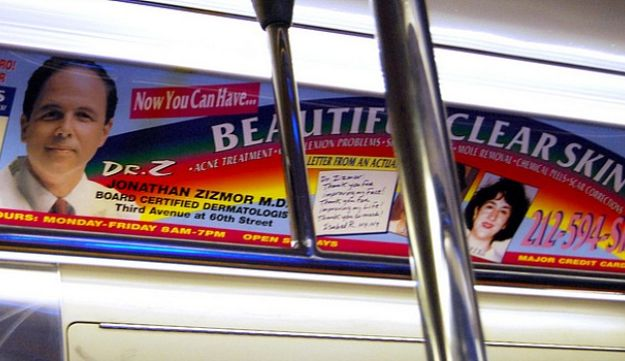 Dr. Jonathan Zizmor's ads are ubiquitous in the New York subway system.