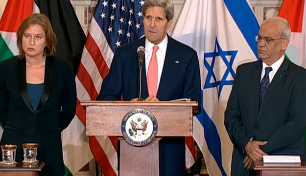 Livni, Kerry and Erekat at the press conference.