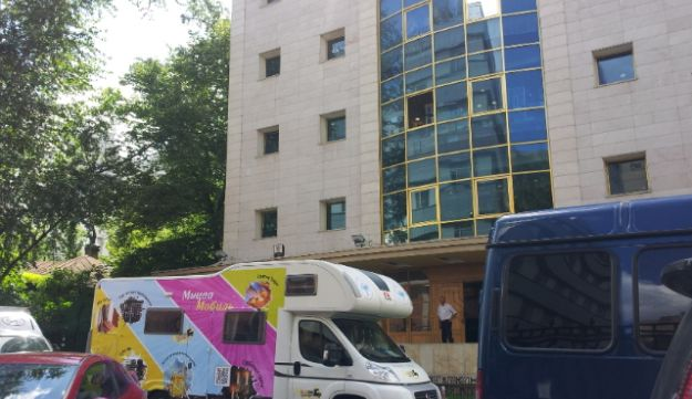A Mitzvah Tank at the entrance of the Moscow Jewish community center, June 2013.