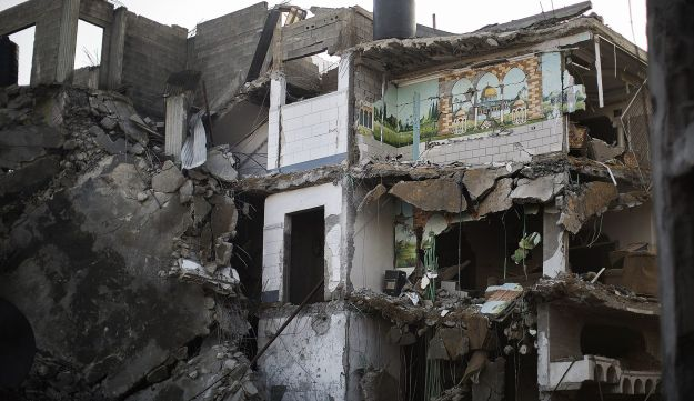 A wall of a house destroyed in an Israeli airstrike on Gaza City, on November 20, 2012.