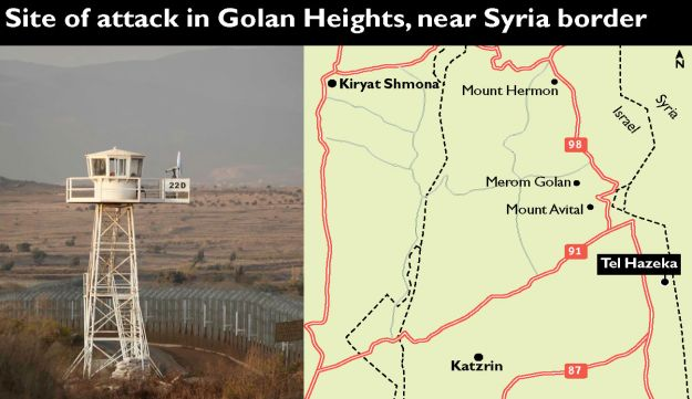 Site of attack in Golan Heights, near Syria border