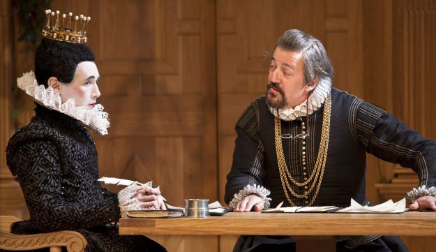 Mark Rylance, playing Olivia, left, and Stephen Fry, playing Malvolio in Twelfth Night.