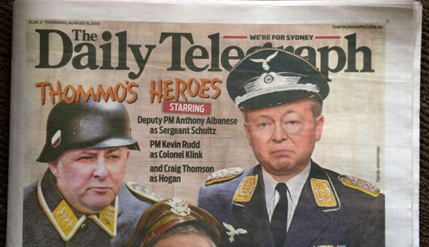 Front page of the Sydney Daily Telegraph, on August 8, 2013.