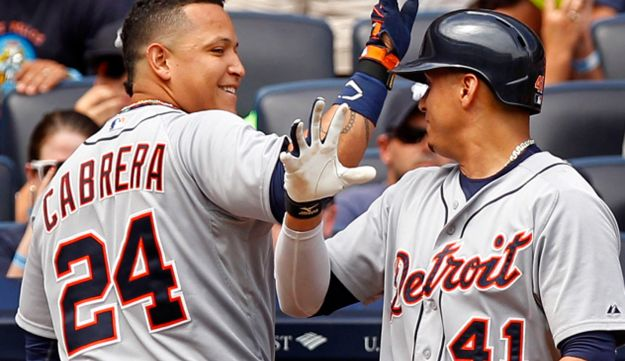 Detroit Tigers' Miguel Cabrera celebrates after hitting a home run