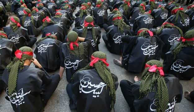 Shi'ite Muslim supporters of the Hezbollah during Ashoura