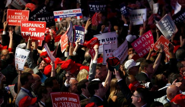 Donald Trump supporters celebrate at an election night rally in New York, November 8, 2016.
