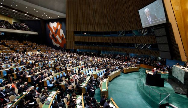 Palestinian President Mahmoud Abbas addresses the United Nations Generally Assembly th UN.
