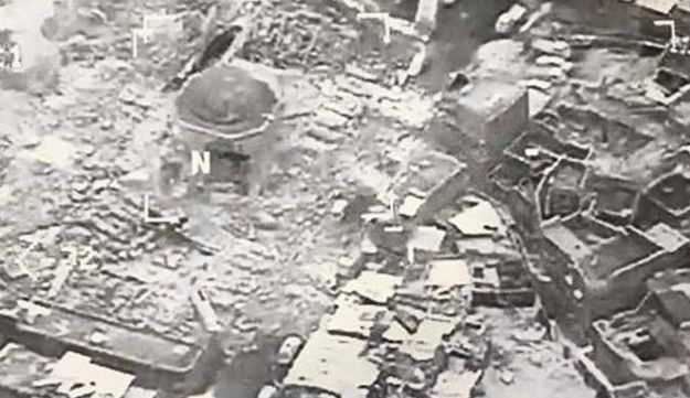 An image provided by U.S. CENTCOM shows the al-Nuri mosque destroyed by the Islamic State in Mosul, June 21, 2017.