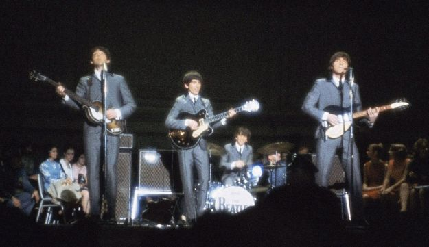 The Beatles perform at Carnegie Hall in New York in 1964.