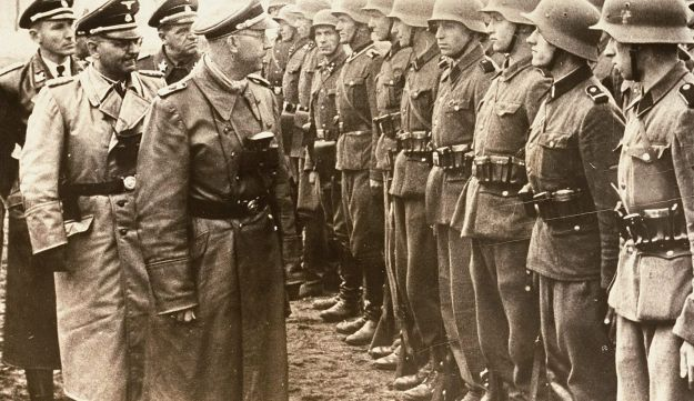 Heinrich Himmler reviews troops of the Galician SS-Volunteer Infantry Division