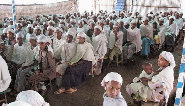 Members of the Falashmura community in Ethiopia last month, waiting to immigrate to Israel.