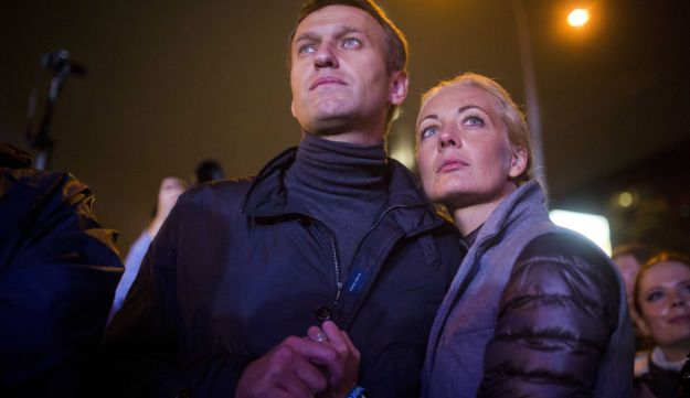 Moscow mayoral candidate Alexei Navalny with his wife Yulia after his last rally in Moscow.