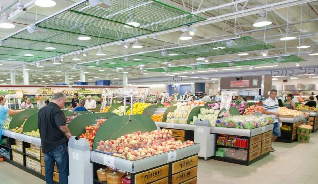 A supermarket produce section