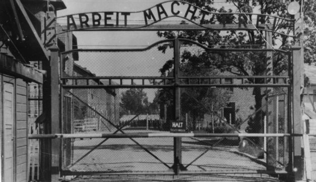 An undated image shows the main gate of the Nazi concentration camp Auschwitz in Poland.