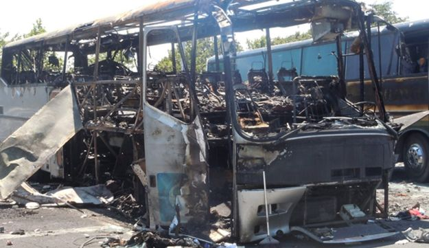 The remains of a bus after the Burgas bombing on July 18, 2012.