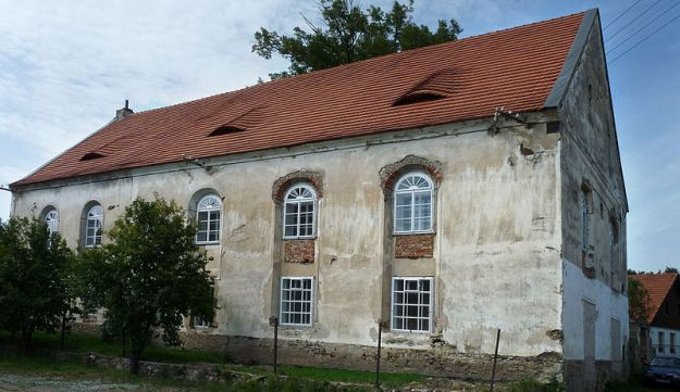 Former synagogue in the municipality of Ckyne, Prachatice District, Czech Republic, under reconstruc