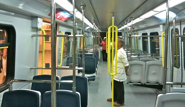 Interior of the Canada Line trains used on the Vancouver SkyTrain system.