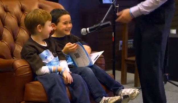 Dylan Siegel, right, with his friend Jonah Pournazarian.