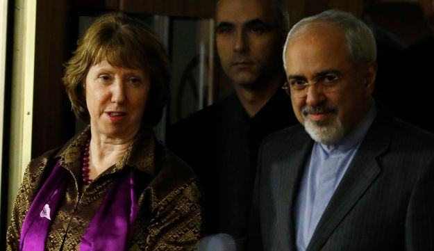 EU foreign policy chief Catherine Ashton and Iran Foreign Minister Mohammad Javad Zarif in Geneva