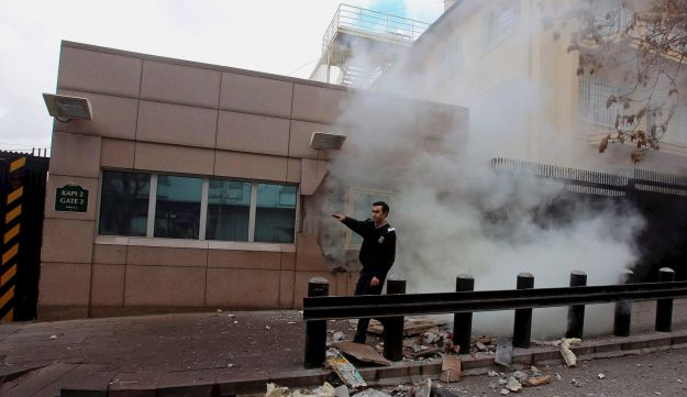 An embassy security guard asks for help minutes after the explosion.