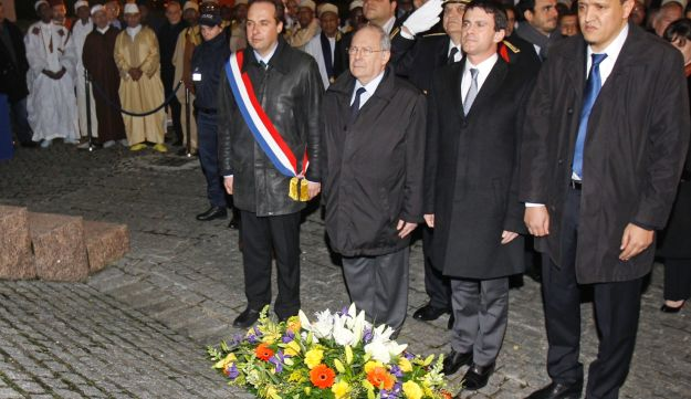 French Interior Minister Manuel Valls, second from right, at a ceremony marking the Holocaust