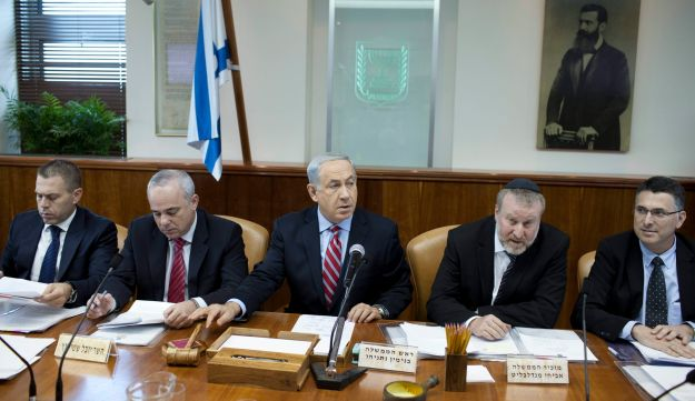 Prime Minister Benjamin Netanyahu attends the weekly cabinet meeting