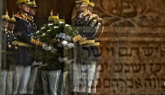 Soldiers during the National Holocaust Remembrance Day commemorations in Bucharest,Romania