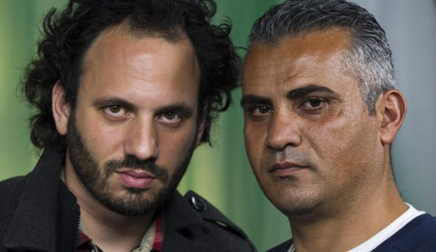 '5 Broken Cameras' co-directors, Guy Davidi, left, and Emad Burnat, earlier this year.