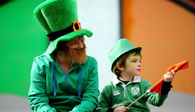 Children watch the St Patrick's Day parade in Dublin, Ireland.