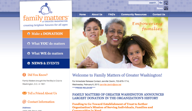 A screenshot of the Family Matters of Greater Washington website.
