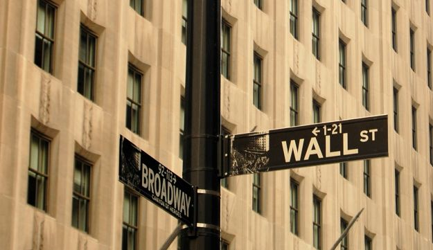The corner of Wall Street and Broadway in New York.