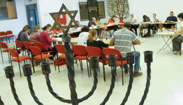 A Judaism conversion class at the Beit Daniel Reform synagogue in Tel Aviv, February 2014.