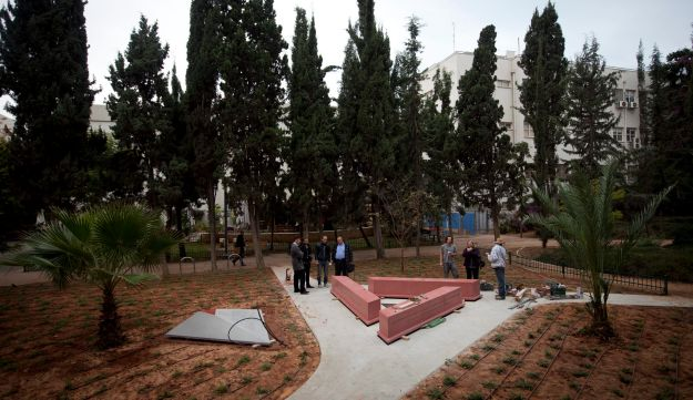 Workers building the memorial to gay Holocaust victims at Gan Meir, Tel Aviv.