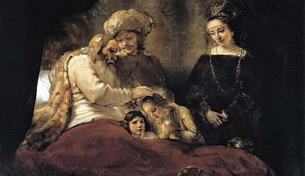 """""""Jacob Blessing the Sons of Joseph,"""" by Rembranbt (1656)"""