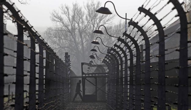 A visitor walks between electric barbed-wired fences at Auschwitz-Birkenau