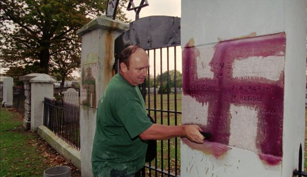 A swastika spray-painted at a Jewish cemetery in New Jersey