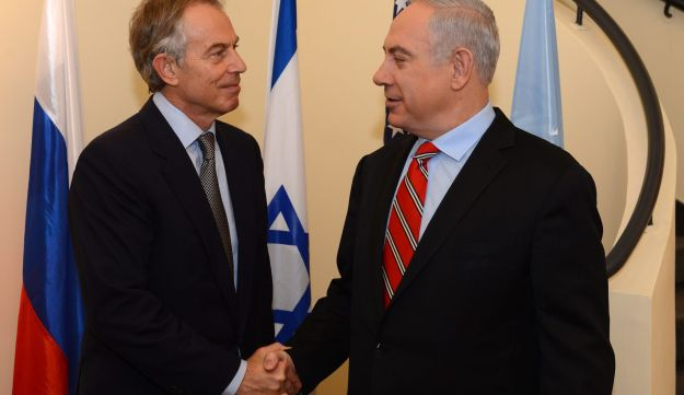 Netanyahu (right) meets with Middle East Quartet envoy Tony Blair at the Prime Minister's residence in Jerusalem.