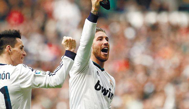 Real Madrid's Sergio Ramos celebrates after scoring the winner against Barcelona on Saturday, March