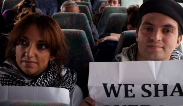 Palestinian protesters on an Israeli bus line in the West Bank last year.