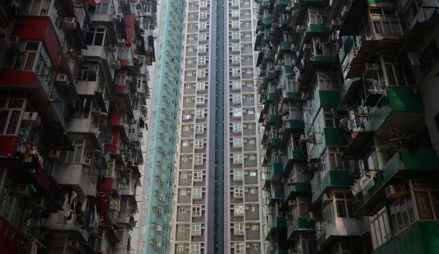 A general view shows residential estates in Hong Kong on December 30, 2013.