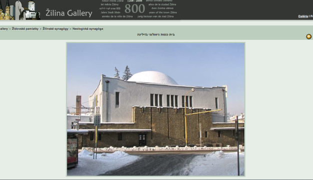A screengrab of the Zilina Gallery website, picturing the Neolog Synagogue in Slovakia.