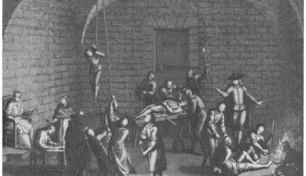 An artist's depiction of a Spanish Inquisition torture chamber