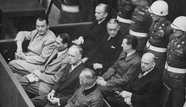 Some of the accused in the dock at the Nuremberg trials.