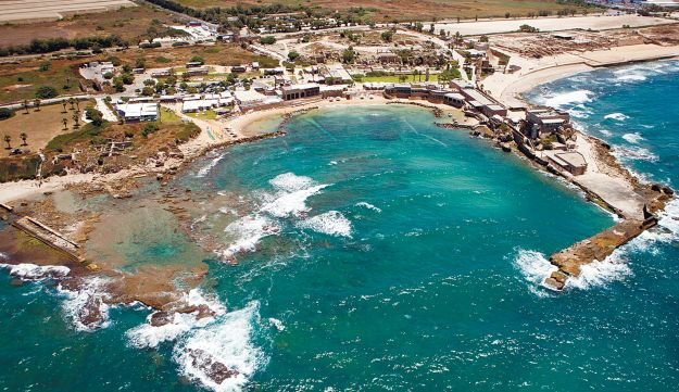 Caesarea, with the ancient port in the foreground.
