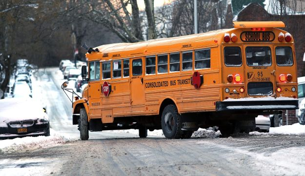 A school bus in the snow