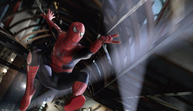 Spider-man is shown in a scene from the film 'Spider-man 3.'
