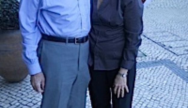 Rabbi Jules Harlow, left, and his wife Navah have been traveling to Lisbon since 2005.