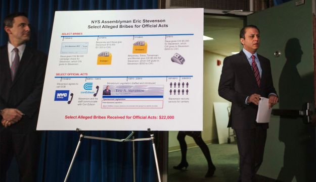 Preet Bharara, U.S. Attorney for the Southern District of New York, describes bribes made