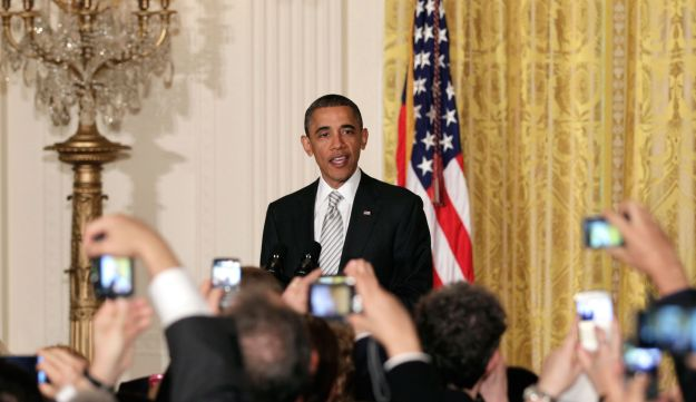 U.S. President Barack Obama speaks during Jewish American Heritage Month at the White House, 2011.